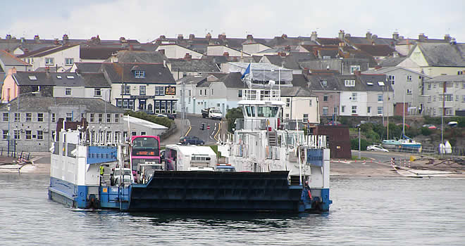The Torpoint Car and Foot Passenger Ferry departing from Torpoint